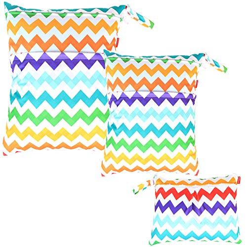 Damero 3pcs Dry Bag pacchetto Wet per pannolini di stoffa pannolino Bag Daycare sacchetto dell'organizzatore, Chevron colorato