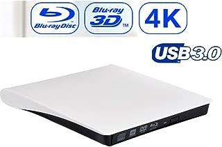 ZC Dawn USB3.0 4K External Optical Drive 3D Player DVD Recorder +/- RW DVD-RAM Compatible with Laptop Windows XP/Win 7/Win 8/Win 10/Vista/Linux/Mac OS, White,White
