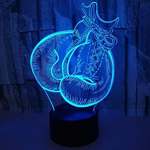 Boxhandschuh Modell Led 3D Nachtlicht 7 Farbe Blinkende Fernbedienung Touch Sensor Usb Illusion 3D Lampe Für Schlafzimmer Dekoration Schreibtischlampe