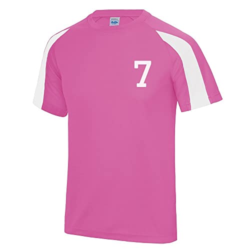 a0000701c Kids Personalised Contrast Sport T Shirt Team Kit Football PE Gym Name  Number