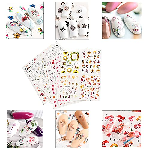 Floral Nail Stickers Cool Summer Series Nail Decal Colorful Flower Butterfly Nature Plants Rose Leaf Water Transfer Design for DIY Women Girls Manicure Decorations,11 Sheets