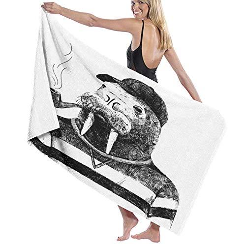 Grande Suave Ligero Toalla de Baño Manta,Boceto de Arte de una morsa con una Pipa y una Gorra Vestida con Estilo Hipster,Hoja de Baño Toalla de Playa por la Familia Viaje Nadando Deportes,52' x 32'