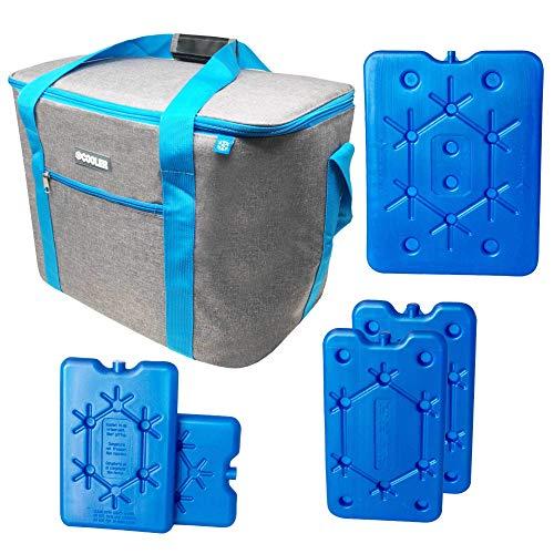 ToCi Koeltas, groot 36 liter, isolatietas, picknicktas voor picknick, camping, vakantie, wandelen, barbecueën, incl. 1 x 800 ml, 2 x 400 ml, 2 x 200 ml