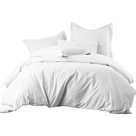King / Cal-King White Cotton-Blend Wrinkle-Free Duvet Cover 650-Thread-Count Duvet Cover Set