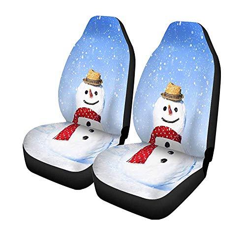 Beth-D Set met 2 stoelhoezen voor autostoelen, Snow Real Snowman buiten, kerstdecoratie, universeel, automatisch, voor Kerstmis, 14-17 inch