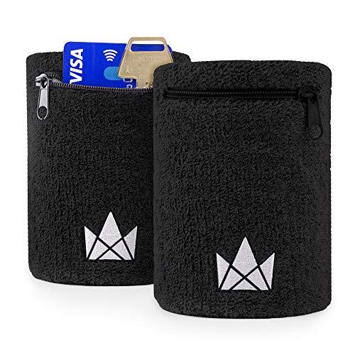 The Friendly Swede Zipper Sweatband Wristband Pocket, Wrist / Ankle Wallet for Jogging, Sports, Walking (2 Pack)
