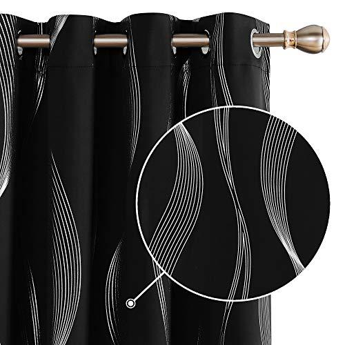 Deconovo Cortinas Salon Modernas Aislantes Térmicas de Líneas Onduladas con Ollados 2 Piezas 140 x 280 cm Negro