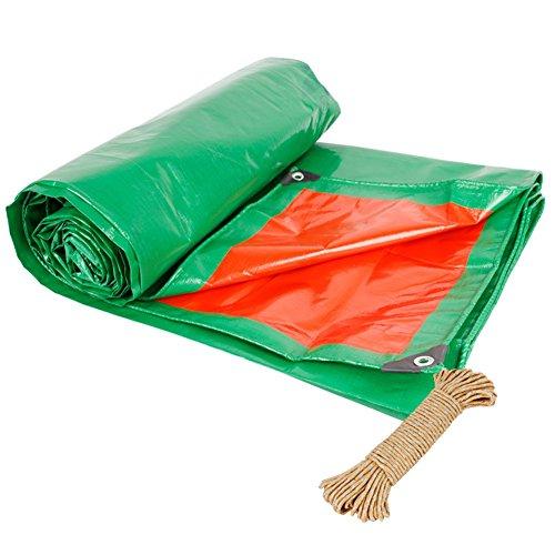 HAIPENG Plane Gewebeplane Holzplane Abdeckplane Schutzplane Verdicken Wasserdicht Schwerlast, 190G/M² (Farbe : Green+Orange, größe : 8x12m)