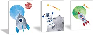 HPNIUB Outer Space Art Print Funny Astronomy Planet Painting Set of 3 Pieces (11.8x15.6inch) Canvas Watercolor Rocket Meteor Pictures with Framed Ready to Hang for Kids Room Nursery Decor
