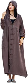 Women's Long Sleeve Chinese Frog Button Hooded Coat with Pockets
