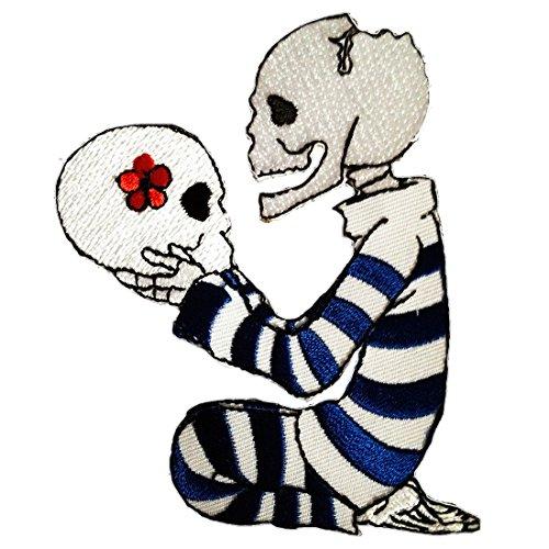 Parches - calavera Biker esqueleto - blanco - 8x10.2cm - termoadhesivos bordados aplique para ropa