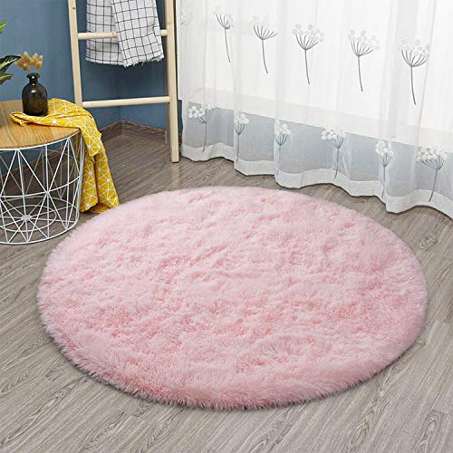 Goideal Round Fluffy Area Rug for Bedroom, Pink Soft Shaggy Rug for Boys Girls, Fuzzy Cute Princess Castle Nursery Room Rug, Circle Plush Floor Carpet for Babies Room Decor 4ft (4' Diameter)