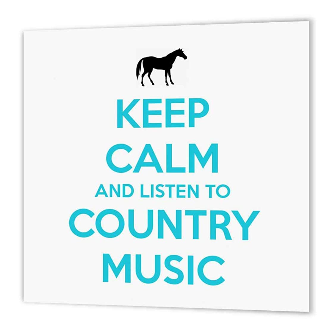 3dRose ht_173401_3 Keep Calm & Listen to Country Music White & Turquoise Horse Iron on Heat Transfer Paper for White Material, 10 by 10