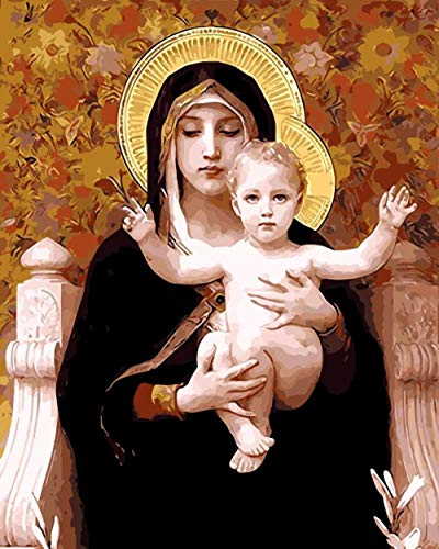 SiJOO Decoración Madre de Dios Pintura al óleo Cuadros por números Imágenes Digitales Colorear a Mano Decoración del hogar Virgen María