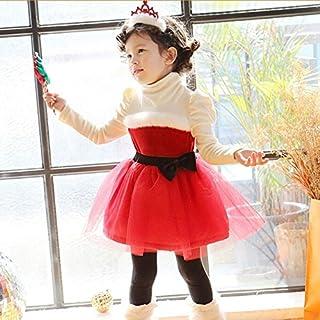 子供 クリスマス ベビー サンタ ドレス サンタクロース 衣装 長袖 ガールズ ワンピース キッズ コスチューム スカート中綿入り