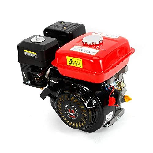 Motor de gasolina, 7,5 CV, motor de 4 tiempos, 5100 W, motor de arranque ligero con protección contra falta de aceite, eje de 20 mm, motor de accionamiento refrigerado por aire, 1 cilindro (rojo)