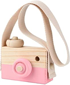 TUANTUAN 1 Pcs Mini Wooden Camera Toy Photography Prop Christmas Toy with Neck Strap for Room Hanging Decor,Pink