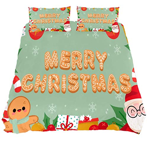 818 FUMIKV-Soft Microfiber Kid Bedding Set Merry Christmas Pattern 3 Pieces FUMIKV-Soft Microfiber Duvet Cover Sets Boys and Girls King