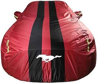Couvertures de voiture Car Cover Compatible avec Ford Mustang Tous Protection M/ét/éo /étanche pluie neige poussi/ère R/ésistant au soleil UV ext/érieur avec sangle et bandes r/éfl/échissantes Couleur: Noir
