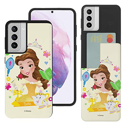 Compatible with Galaxy S21 Case (6.2inch) Princess Beauty and The Beast Dual Layer Card Slide Slot Wallet Bumper Cover - Belle
