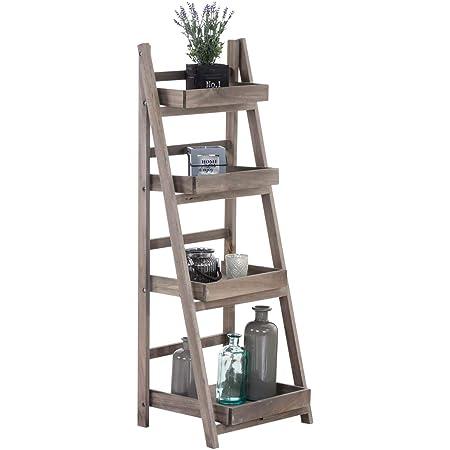 Estantería Escalera Dorin con 4 Estantes I Estantería Plegable en Estilo Rústico I Estantería Decorativa de Madera I Color:, Color:marrón Claro