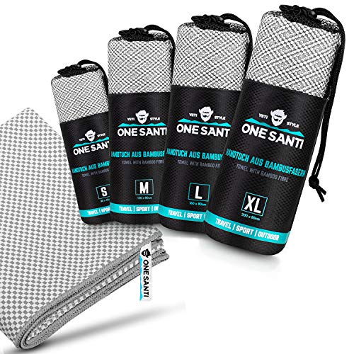 ONE SANTI Reisehandtuch - Unsere Bambus Handtücher als Top Outdoor Handtuch - Reisehandtuch schnelltrocknend & kompakt - Travel Towel (Grau M)