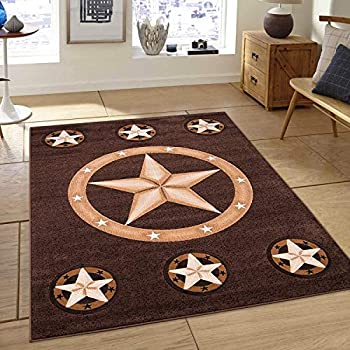 Champion Rugs Rustic Western Texas Star Pattern Geometric Revolving Stars Country Style Brown Area Rug  2 Feet X 3 Feet