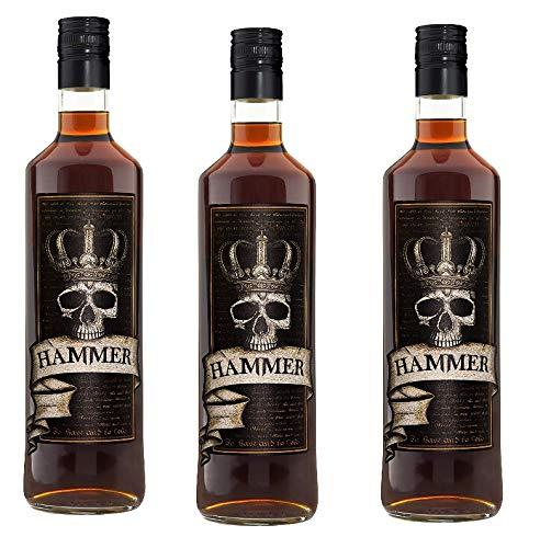 3 Flaschen Hammer Likör Rum-Cognac-Kräuter-Whisky-Frucht Geschmack a 700ml 20% Vol. Likör