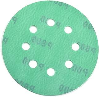 POLIWELL 5 Inch Sanding Discs 8 Holes 800 Grit Wet Dry Film-Backed Green Line Hook and Loop Dustless Power Random Orbital Sander Paper, for Car Paint Wood or Metal Grinding and Polishing, 20 Pack