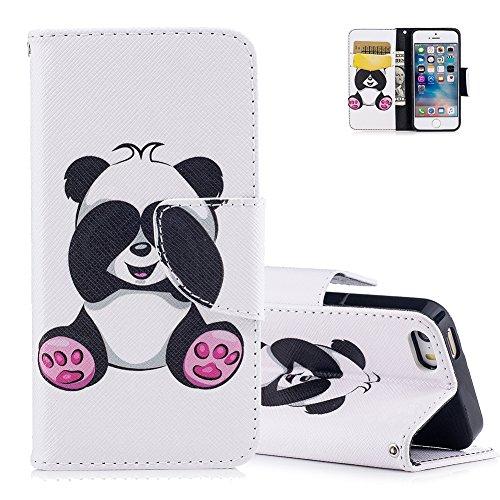 5S Lederhülle,Aeeque Slim Flip Ledertasche,Süß Neuheit Tier Panda Muster Brieftasche Schutzhülle,Kartenfach Standfunktion Case Hülle für iPhone 5 5S SE Cover mit Weich Silikon Innere Bumper