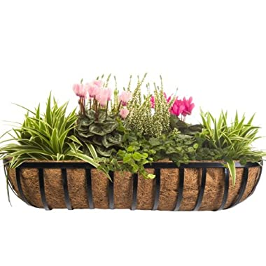 CobraCo HTR36-B 36-Inch English Horse Trough Planter, Black