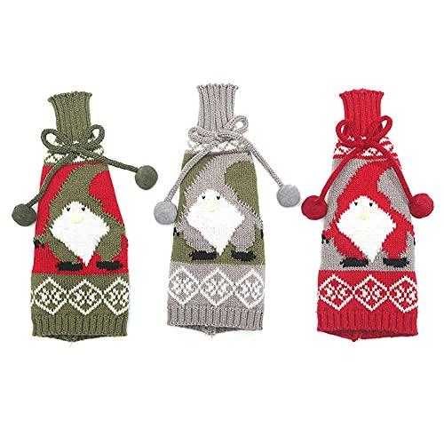 Cubierta de la botella de vino, cubiertas de la botella de cerveza de punto para la decoración navideña Fiesta de vacaciones de cumpleaños de boda