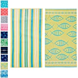 "Great Bay Home 2 Pack Plush Maui Yellow Fish & Stripes Print Beach Towels. 100% Cotton Nautical  Beach Towels, Large Pool Towels. Maui Collection (30""x60"")"