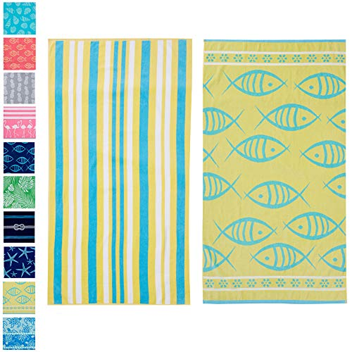 Great Bay Home 2 PackPlushMaui Yellow Fish & Stripes PrintBeach Towels. 100% CottonNautical Beach Towels, Large Pool Towels.Maui...