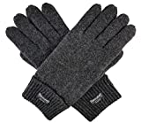 Bruceriver Men Pure Wool Knitted Gloves with Thinsulate Lining Size L/XL (Anthra)