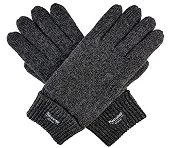 Bruceriver Men Pure Wool Knitted Gloves with Thinsulate Lining Size S/M  Anthra