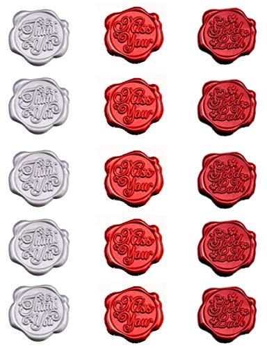 Sweet+ シーリングスタンプ風 シーリングワックス シール 封印 封蝋 手紙 ラッピング プレゼント 英字 (レッド, Bセット)