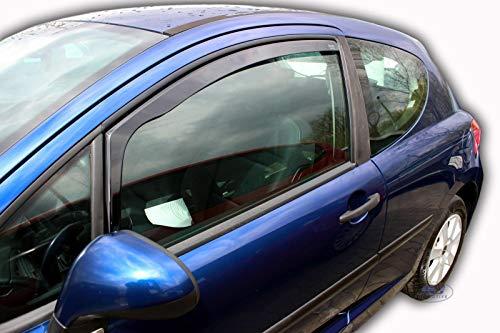 J&J Automotive - Deflectores de viento para Peugeot 207 3 puertas 2006-2012 (2 unidades)