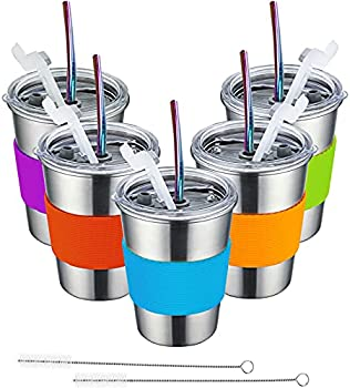 5-Pack Huzz Stainless Steel Kids Cups with Lids and Straws