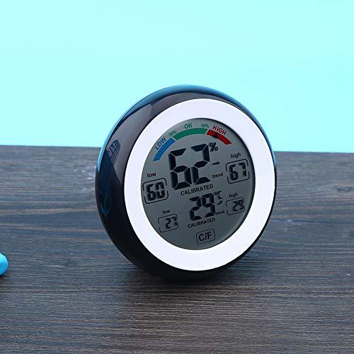 Aoutecen Termómetro Digital Multifuncional para Interiores de 1 Pieza para visualización de Temperatura y Humedad(Black)