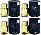 QAA'ED - Agua de perfume de bolsillo árabe de 30 ml, para hombre y mujer con toque oriental de occidental, vainilla, piel, ámbar y madera (4 unidades)