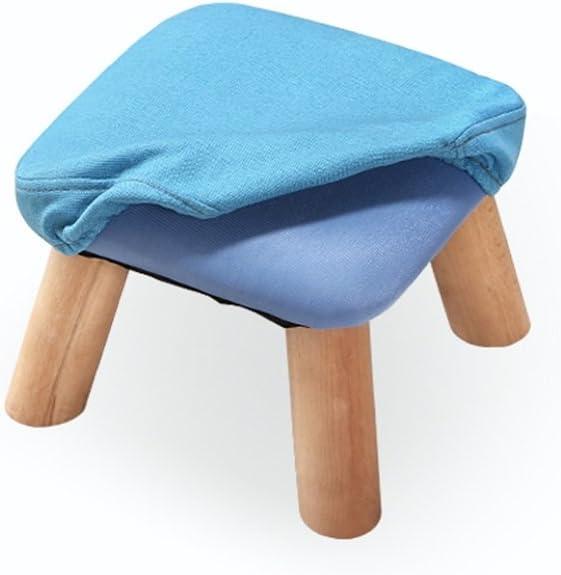 LYQQQQ Table à Langer en Bois Massif Tabouret Tabouret Canapé Tabouret Carré Rembourré, Tabouret 4 Poufs en Bois (Color : Blue) Blue