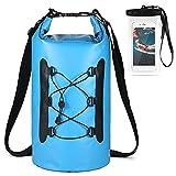 HUUATION 15L Bolsa de PVC Impermeable con la Caja del teléfono Nadar Agua A Prueba de Mochila Trekking Seco Bag Roll Top Seco Saco(Blue Color)