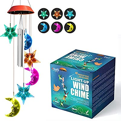 Wind Chimes Outside, 2020 Updated Version JOYXEON Star Moon Solar Wind Chimes LED Solar Mobile,7 Color Changing Modes,Solar/USB Powered,with Anti-Fall Hook,Waterproof, Hanging Decor for Garden Patio