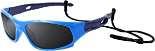 COOLSOME Flexible Rubber Kids Polarized UV Protection Sunglasses with Straps for Boys Girls 2-7 Years Old