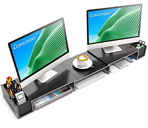 LORYERGO Elevador Monitor Dual, Soporte Monitor Madera Elevador Con Longitud y Ángulos Ajustables 2 ranuras funcionales adicionales Organizador ,de escritorio Elevación de Pantalla para Monitor de PC