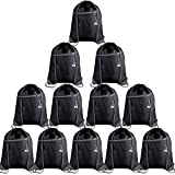 FEPITO 12Pcs Drawstring Backpack Bags with Zipper Pocket and Headphone Hole Sports Gym