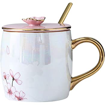 KEYIGOU 13.5oz Cherry Blossom Ceramic Mugs with Lid Gold Spoon Porcelain Coffee Milk Tea Cups Office Travel Cup for Women Lovers Friends Gifts