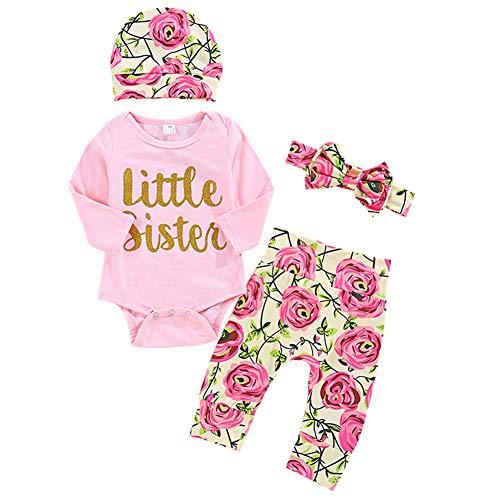 Shiningbaby Baby Mädchen Kleidung Set Little Sister Strampler Top und Rose gedruckt Hose und Stirnband 3 Stück Outfit (0-3 Monate, Blumen)