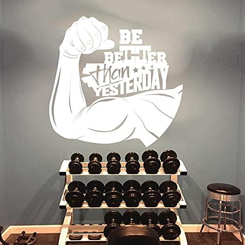 Zdklfm69 Adhesivos Pared Pegatinas de Pared Grande Sea Mejor Que Ayer Muscle Gym Office Cita Motivacional Fitness Vinilo Decoración 112x112cm